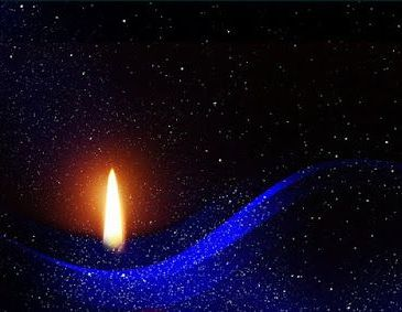 Candle in a new moon sky